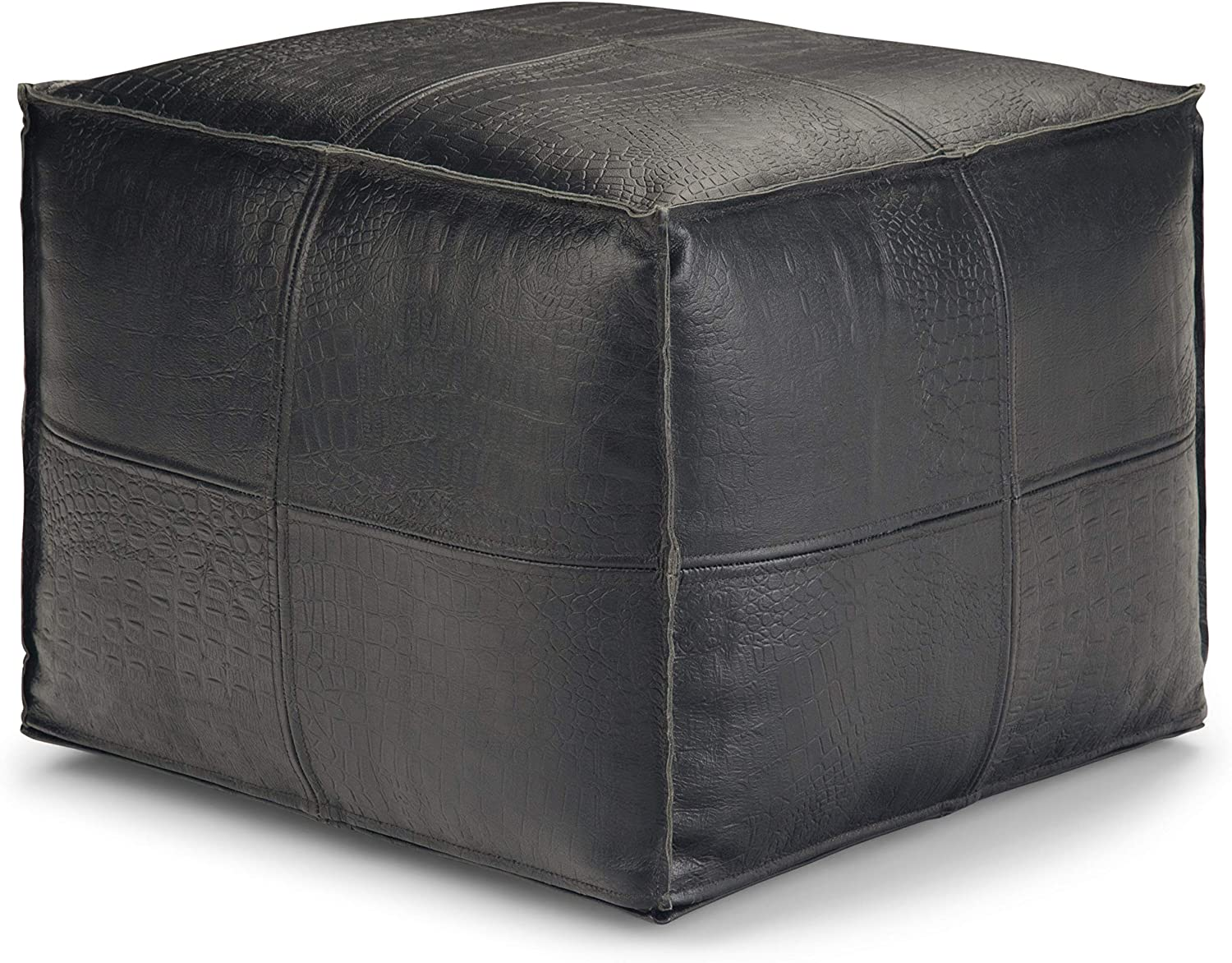 SIMPLIHOME Bowen Square Pouf, Footstool, Upholstered in Black Leather, for the Living Room, Bedroom and Kids Room, Contemporary, Modern