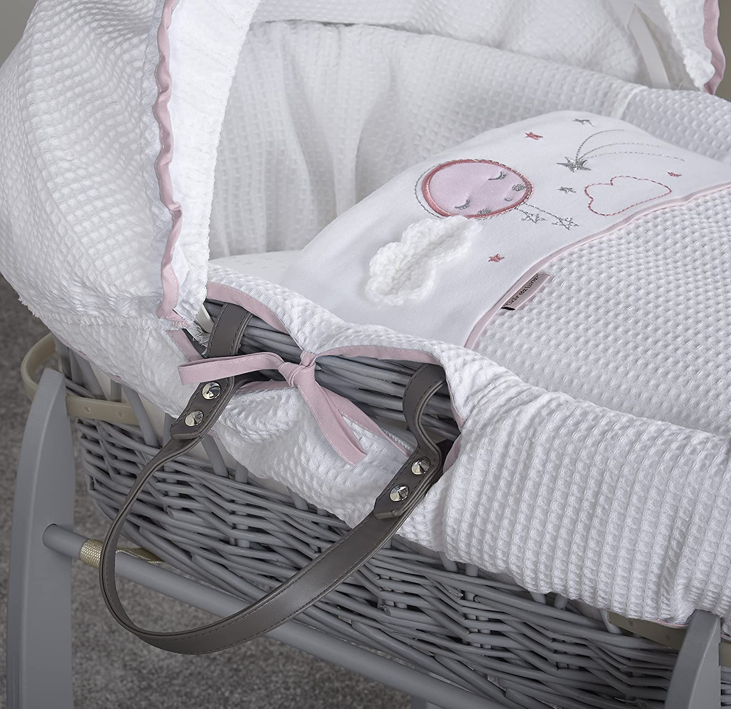 Pink//Grey Clair de Lune Wicker Moses Basket Over The Moon
