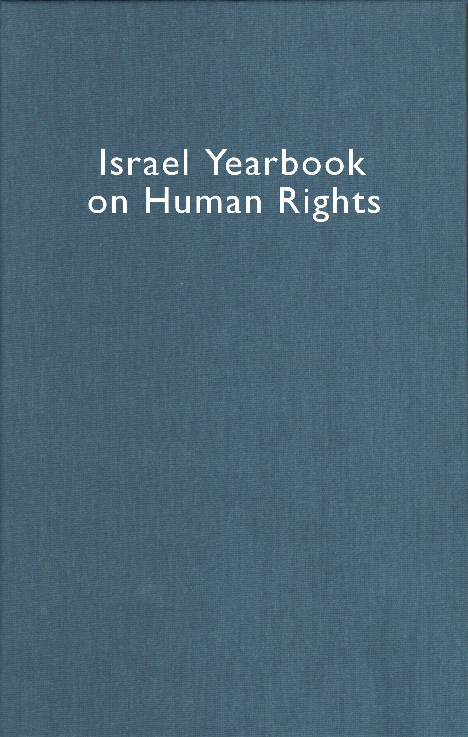 Israel Yearbook on Human Rights 1999 pdf epub