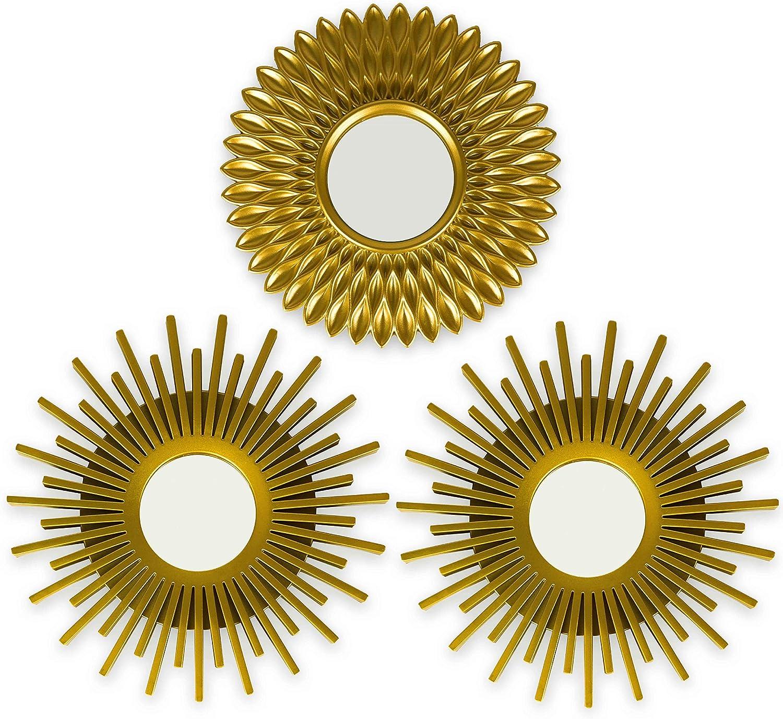 BONNYCO Espejos Pared Decorativos Dorados Pack 3 Espejos Decorativos Ideales para Decoracion Casa, Habitación y Salón | Espejos Redondos Pared Regalos Originales para Mujer | Decoracion Pared