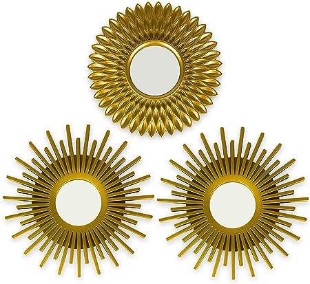 ☀ IDEALES PARA COLGAR EN PARED ☀ Cada uno de los tres espejos dorados tienen un pequeño cáncamo para