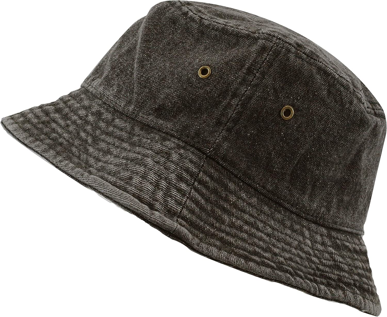 100/% Washed Cotton Vintage Canvas Denim Bucket Hat Casual Outdoor Fishing Hiking Safari Boonie Hat.