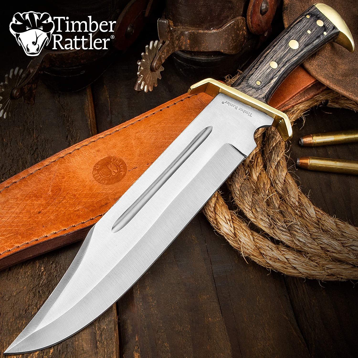 Timber Rattler Western Full Tang Bowie with Leather Sheath on a wooden table
