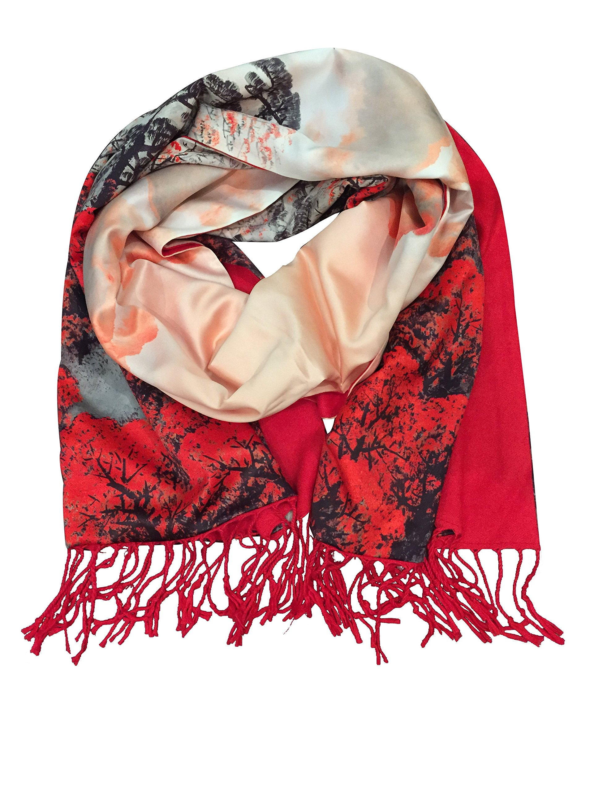 SiScarf by Siskalicious Women's Luxurious Fashions Double Layers Silk and Soft Cashmere Scarf Red Forest by Siskalicious (Image #3)