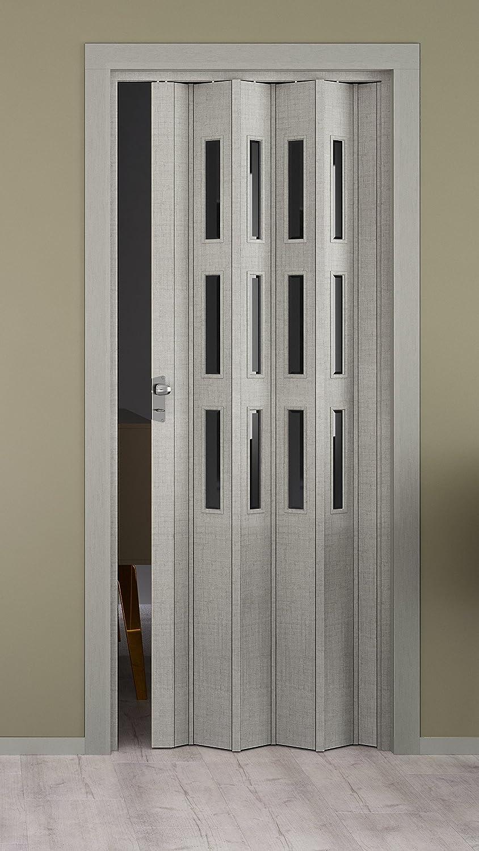 Elvari - Puerta plegable con 3 filas de cristales (87,0 x 202 cm), color gris: Amazon.es: Bricolaje y herramientas