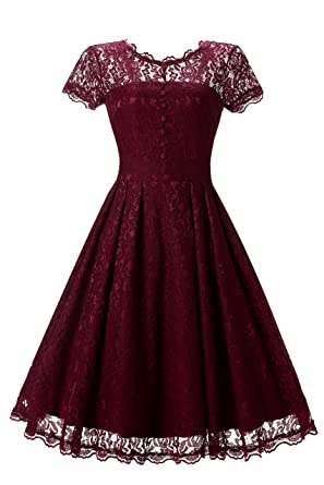 Vickyben Womens Floral Lace Prom Dresses Short 2018 Cap Sleeve Retro Vintage Swing Dress Cocktail Dresses