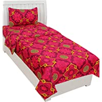 BSB Trendz 3D Printed Super Soft Glace Cotton Single Bedsheet with 1 Pillow Cover -Blood Red