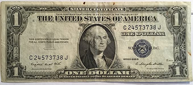 Amazon.com: 1935 Series G $1 One Dollar Silver Certificate Currency ...