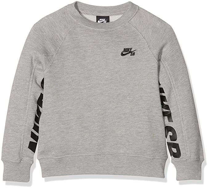 Nike SB Everett Graphic Crew Fleece, Sudadera para Niñas, Gris (Dark Grey Heather