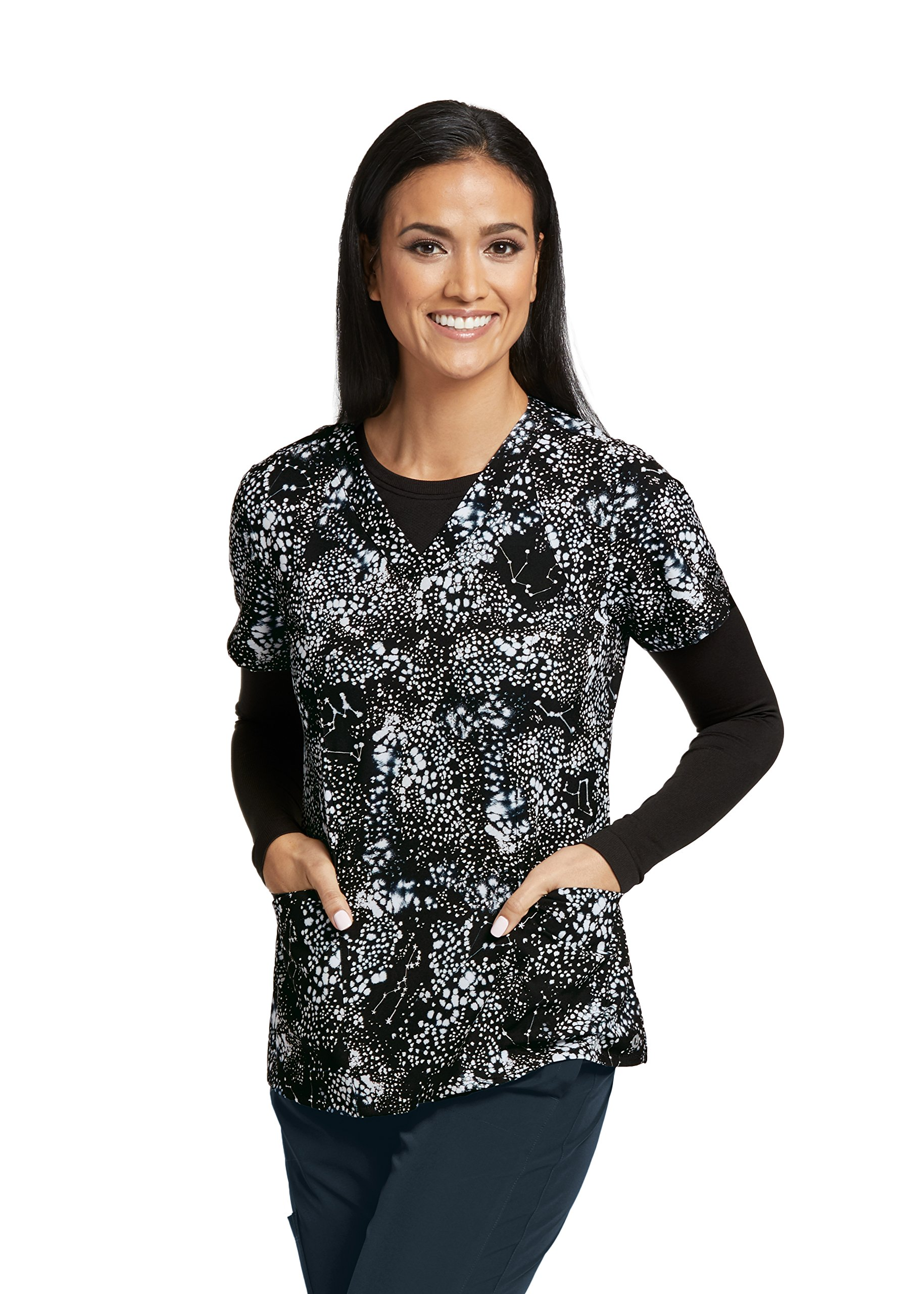 Barco One 5107 Women's Print V-Neck Top Constellation XL