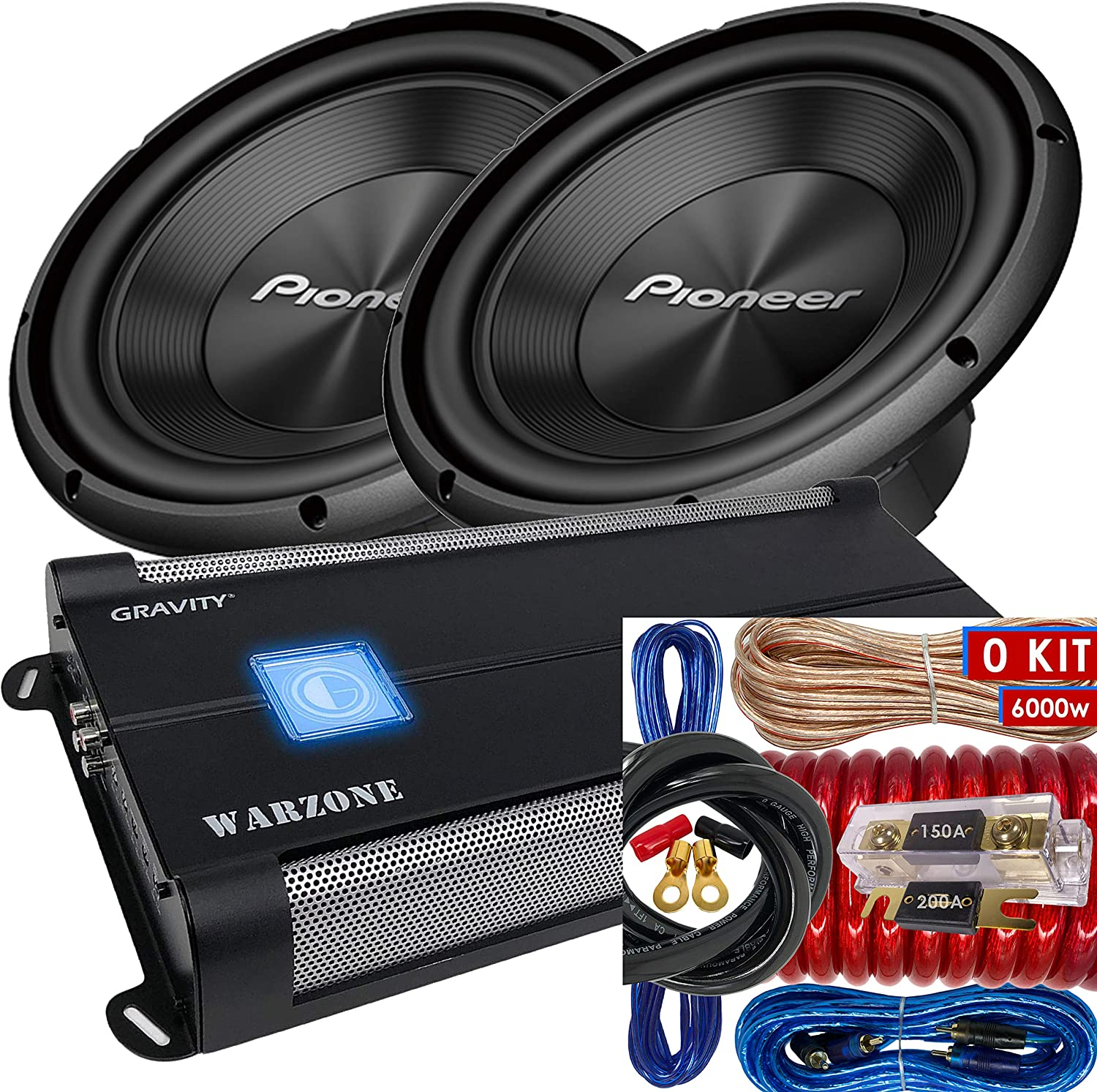 """1500 Watts Pair of Pioneer TS-A300D4 12/"""" Dual 4 Ohms Voice Coil Subwoofer + 6000 Watts Monoblock Amplifier 2 Subwoofer 0 Gauge Installation Kit Included"""