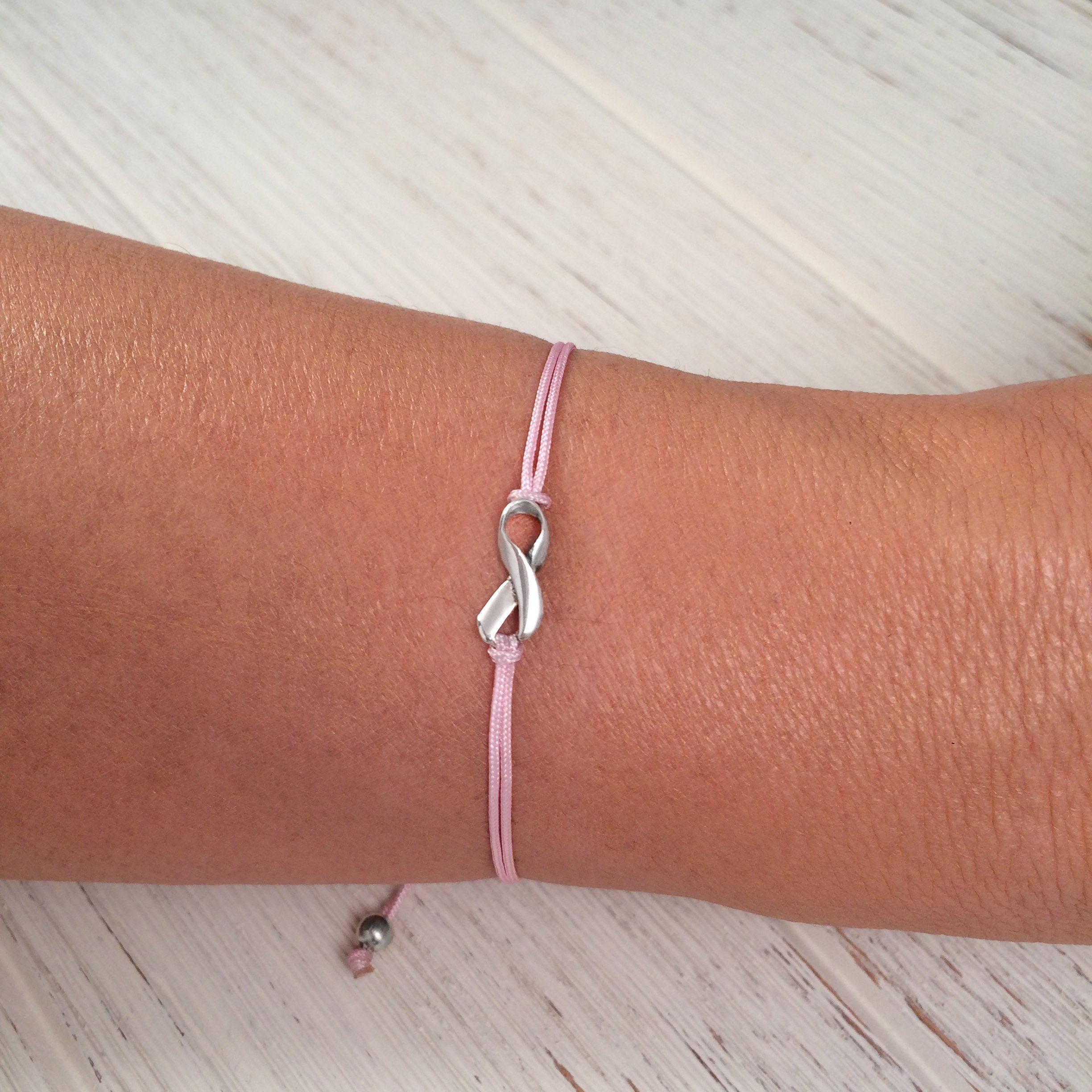 Pink, Small Sterling Silver 925 Ribbon Shaped Charm Bracelet, Breast Cancer Awareness, Friendship Support Bracelet, Adjustable Thread Cord, Handmade in Peru by Claudia Lira by Claudia Lira Joyas