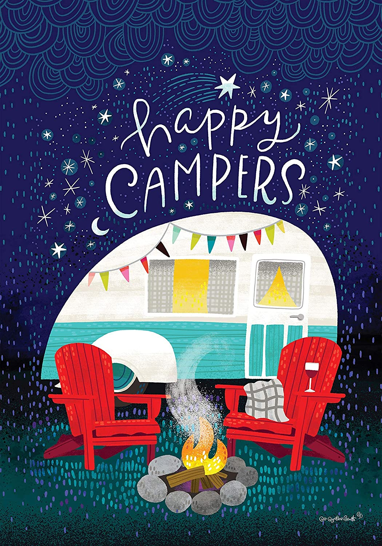 Custom Decor Under The Stars- Happy Campers 18 X 12 inch Garden Flag