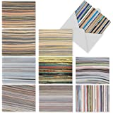M2030 Paper Cuts: 10 Assorted Blank All-Occasion Note Cards Featuring Gallery Worthy Photographs Of Vibrant, Modern, Multi-colored Displays Of Paper Stacks, w/White Envelopes.