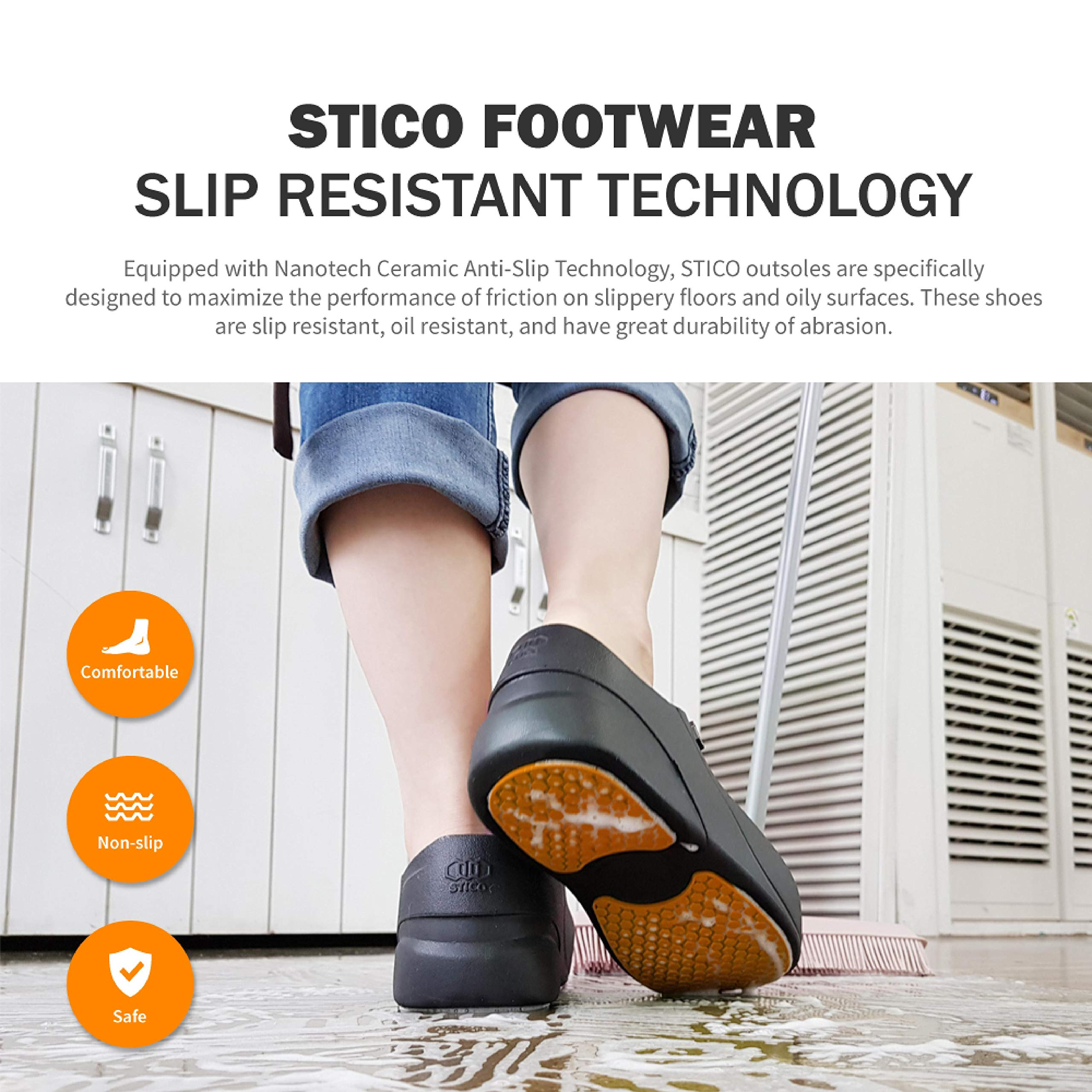 STICO Men's Slip Resistant Chef Clogs, Professional Non-Slip Work Shoes with Air Vents for Restaurant Hospital Nursing Garden [Black/US Men 5] by Stico (Image #2)