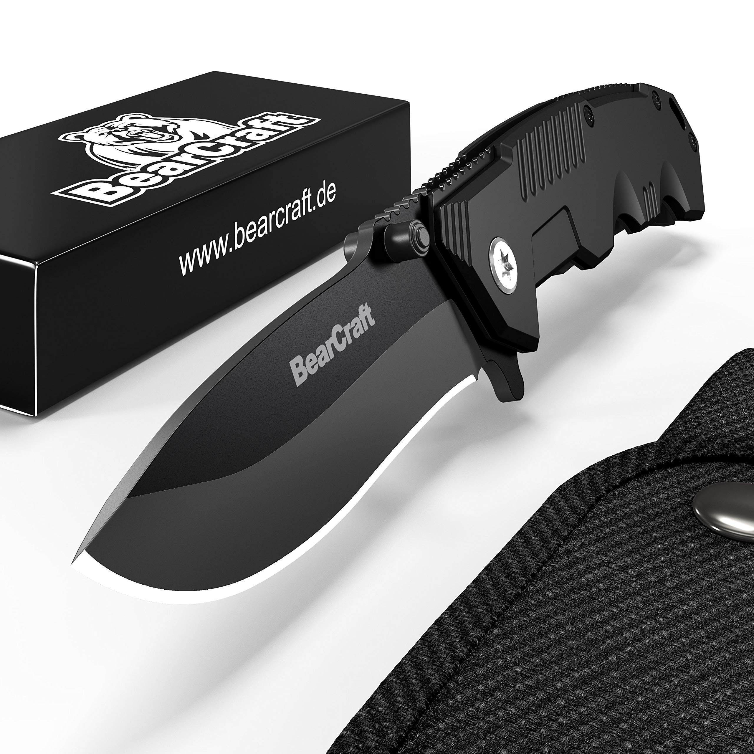 BearCraft Folding Knife in Matt Black inclusiveFREE eBook | Outdoor Survival Pocket Knife | Small one-Hand Knife with Stainless Steel Blade and Aluminum Handle| Perfect for Work Hiking Camping by BearCraft (Image #2)