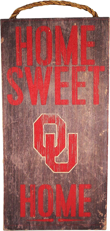 "Fan Creations NCAA Oklahoma Sooners 6"" x 12"" Home Sweet Home Wood Sign"