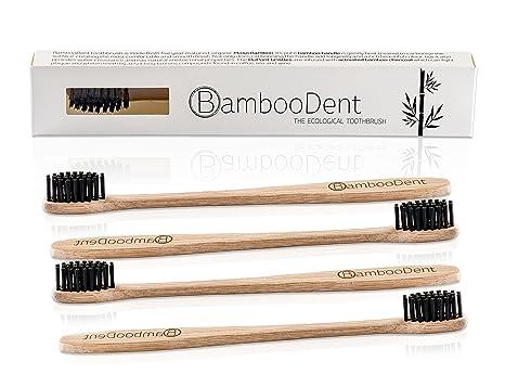 BambooDent - El cepillo de dientes ecológica (4x set) | Asa de moso bambú