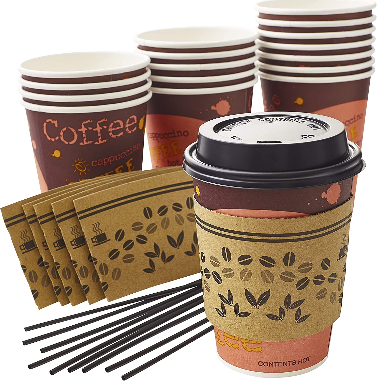 Leak-Free, All-In-One Coffee Cup Set 12 Oz. 150 Pack With Recyclable Cardboard Jacket Sleeves, Stirrers and Dome Lids. Best 12oz Disposable Paper Cups Bulk Bundle Perfect for Hot Beverages or Drinks
