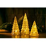 Christmas LED Handmade Glass Lighted Christmas Tree Figurine Warm Light Mercury Antique Silver Vintage Gift Present Ornaments Set of 3 Pieces Mouth Blown Decorations for Window Tabletop Mantel Shelf