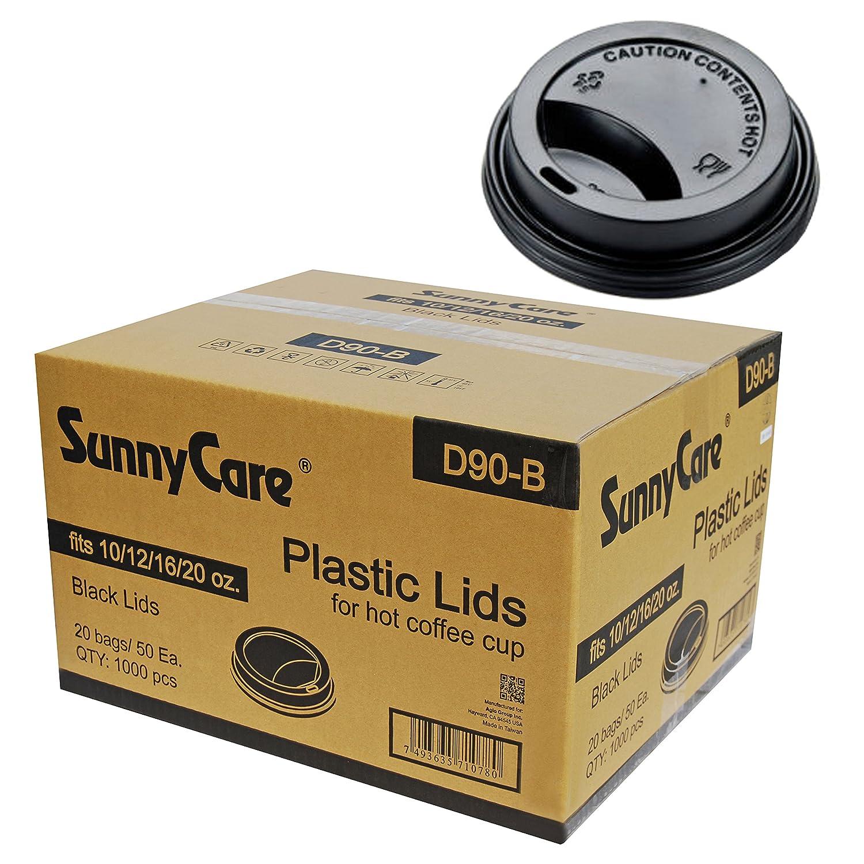 SunnyCare 12、16、20オンスブラックプラスチック旅行蓋(ケースof 1000 )   B01BN5K6KE