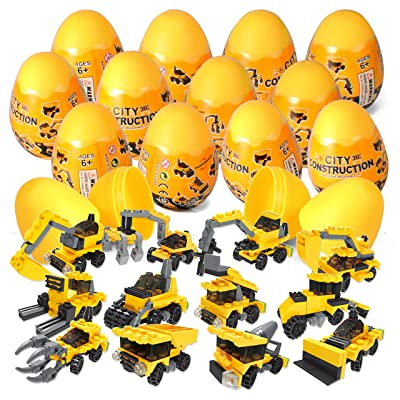 JOYIN 12 Pcs Prefilled Easter Eggs with Construction Vehicles Building Blocks: Toys & Games
