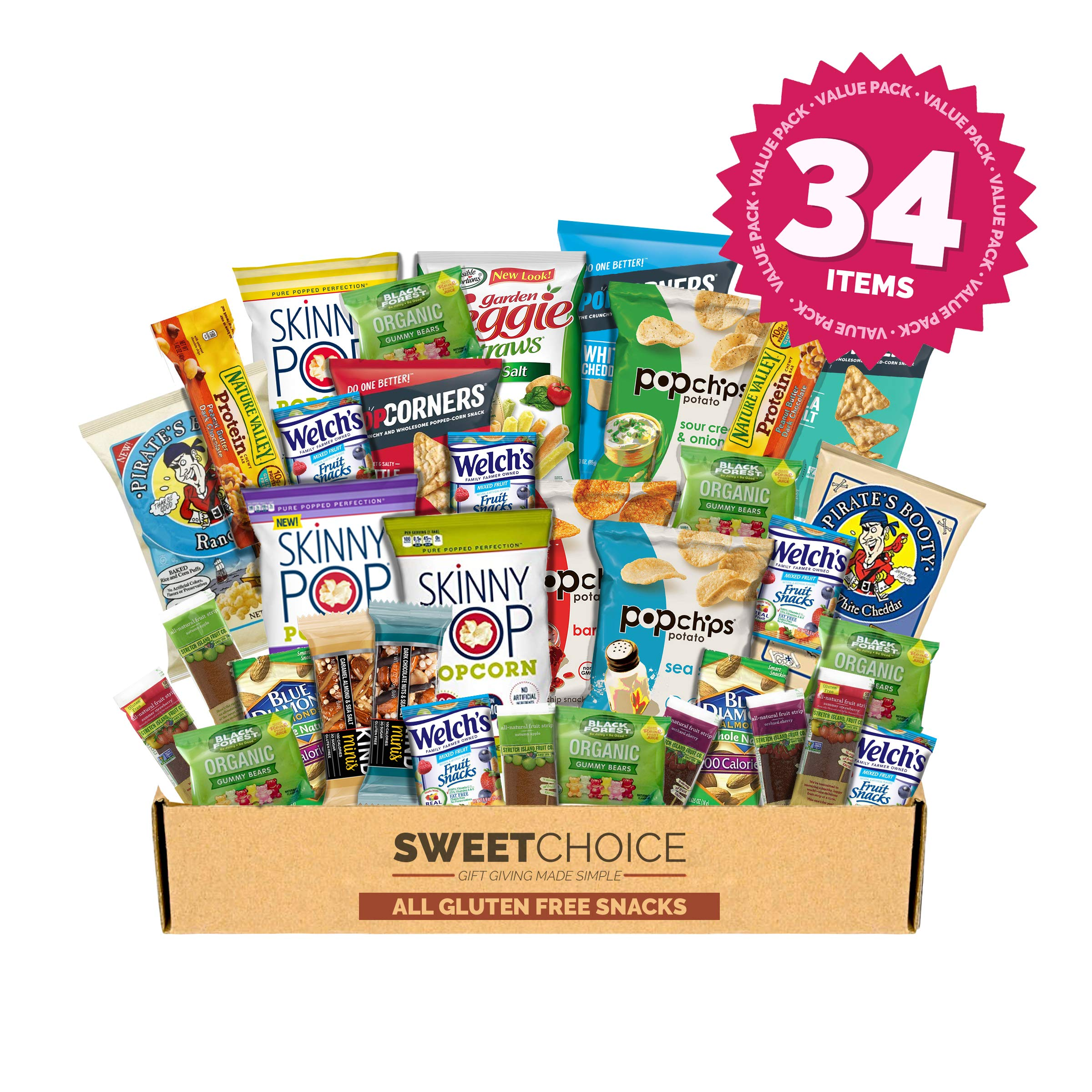 Snack Box Gluten Free Healthy Snacks Care Package (34 Count) for College Students, Exams, Father's Day, Military, Finals, Office and Gift Ideas. Chips, Popcorn, and granola Bars. by Sweet Choice