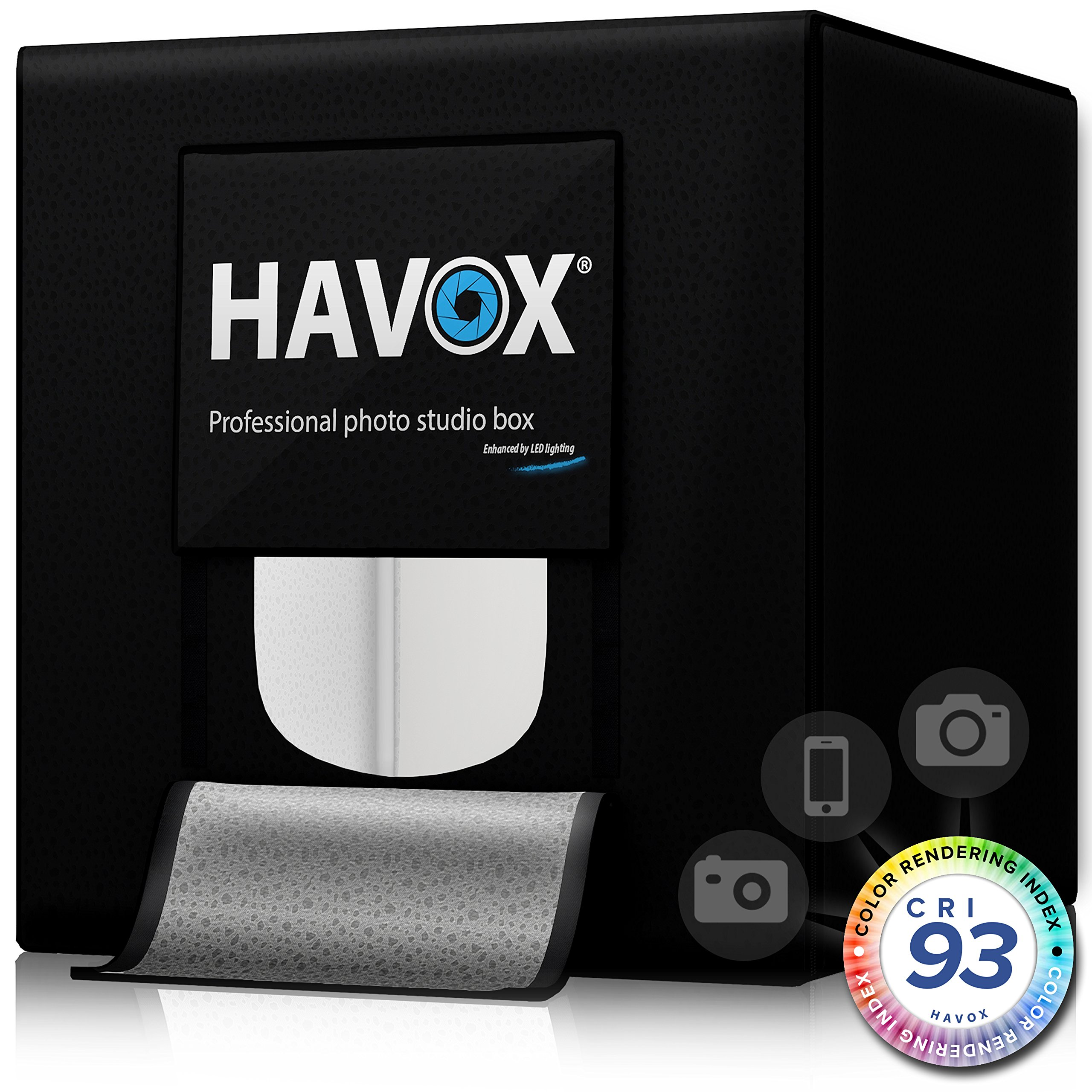 HAVOX - Photo Studio HPB-40D - Dimension 16''x16''x16'' - Super Bright Dimmable LED Lighting 5500k - 13,000 lumens - CRI 93 - Make Your Commercial Photos e-Commerce by HAVOX