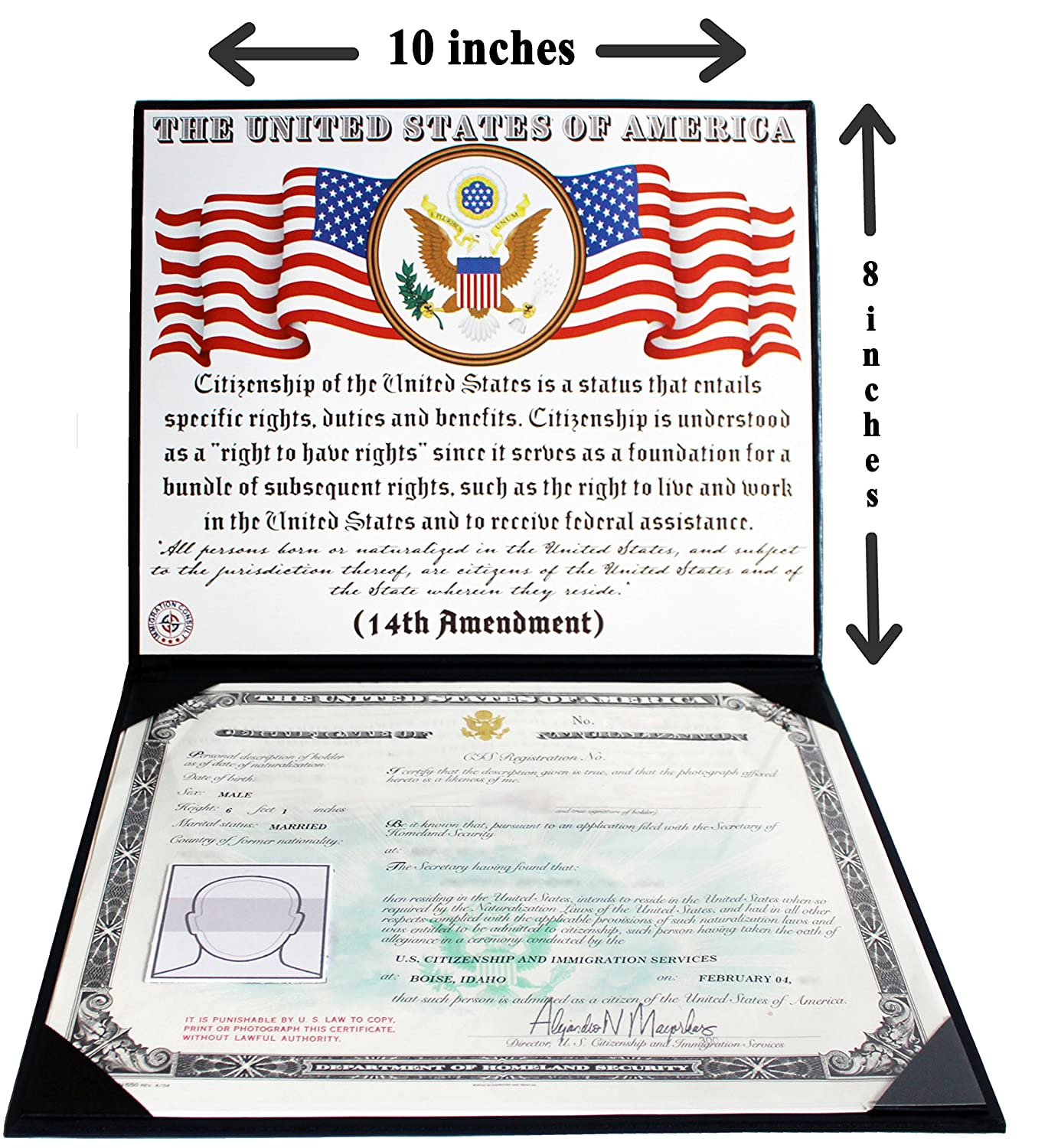 Us Citizenship And Naturalization Certificate Padded Cover