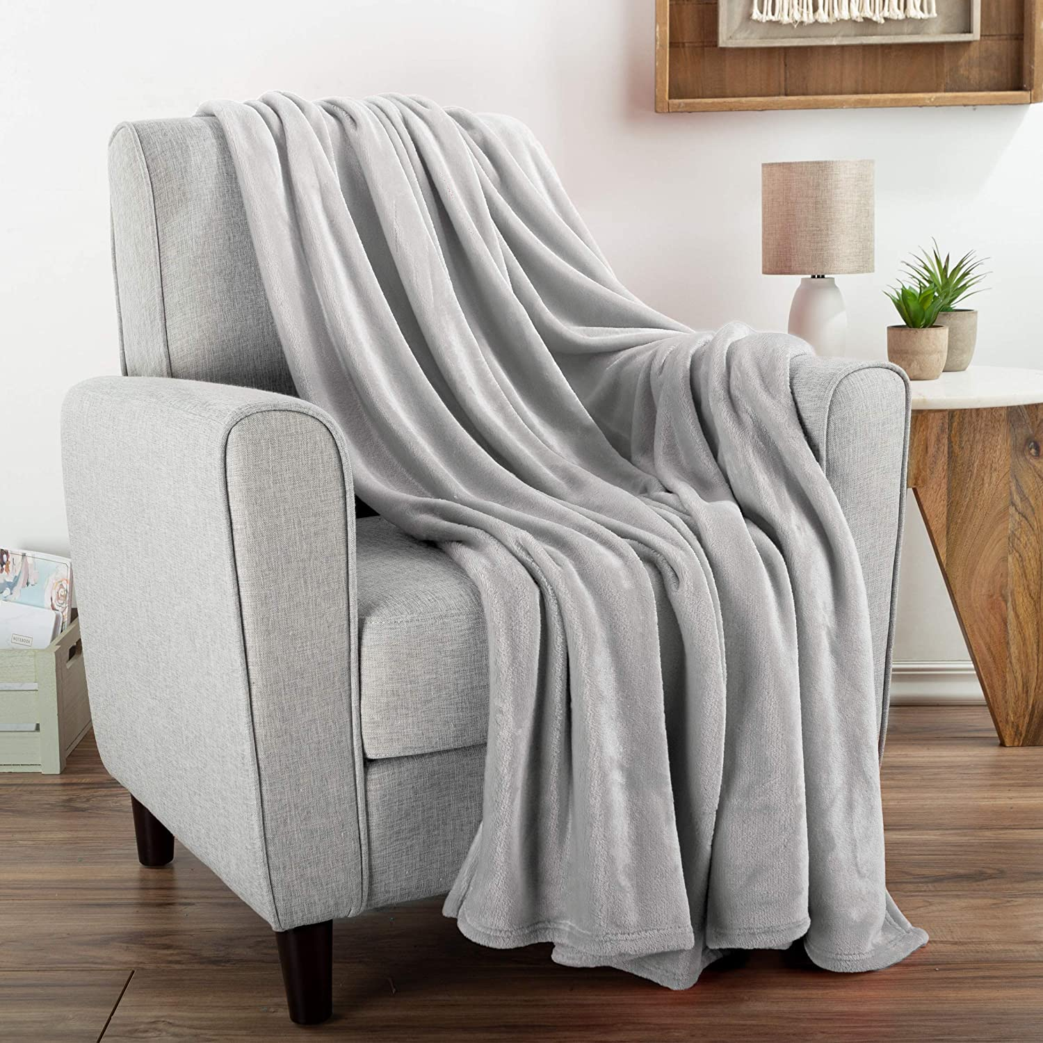 "Flannel Fleece Throw Blanket- For Couch, Home Décor, Bed, Sofa & Chair- Oversized 60"" x 70""- Lightweight, Soft & Plush Microfiber in Desert Tan by Bedford Home, Dawn Gray"