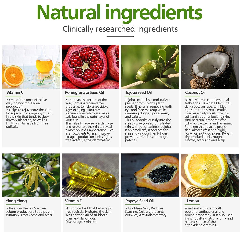 Nutricelebrity Vitamin C Serum Acne Scar Removal - Organic Anti Wrinkle  Formula for Face Care, Dark