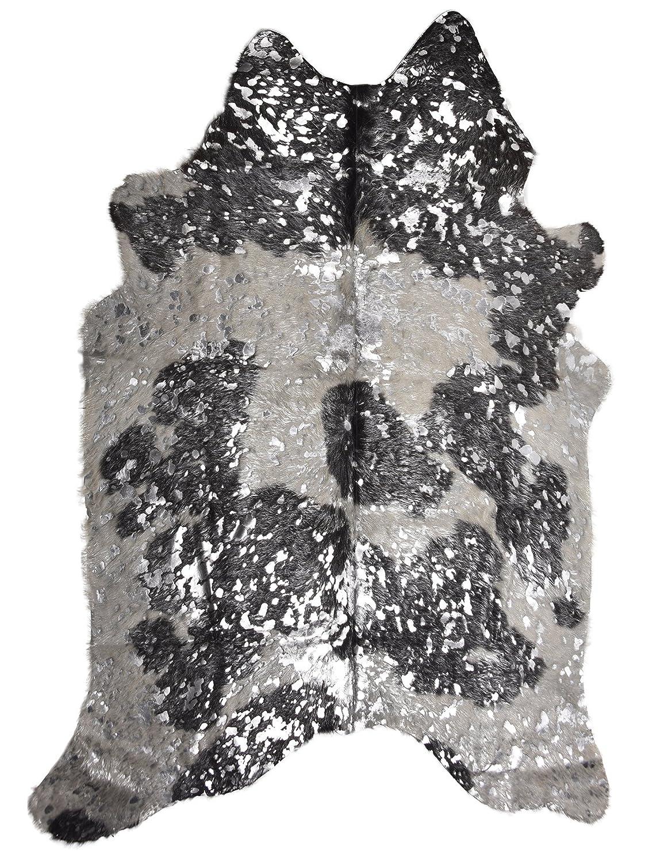 Super Größe Original Cow Hide – Haut mit Silber-Metallic Finish von Lambland – 3 ft x 5 ft