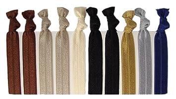 Amazon.com : Ribbon Hair Ties - Neutral Tones 10 Pack By Kenz ...