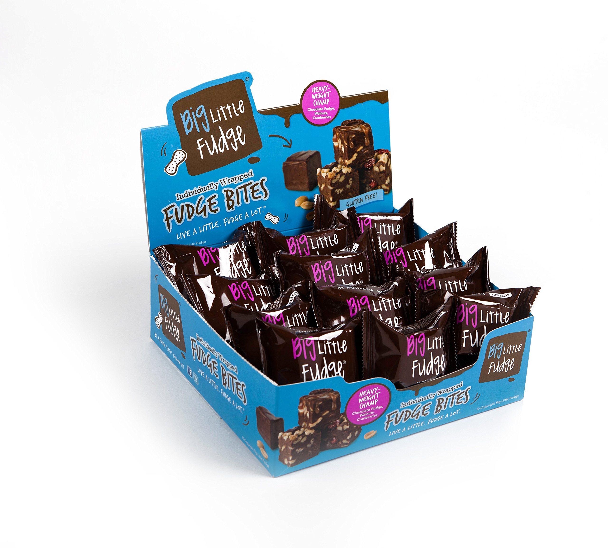 Big Little Fudge - Heavyweight Champ - Chocolate, Cranberry, Walnut Fudge - 24 Individually Wrapped 1.6 Ounce Fudge Bites by Big Little Fudge