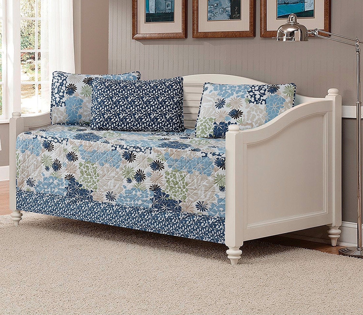 Linen Plus 5pc Daybed Cover Set Quilted Bedspread Floral Floral Beige Blue Green Off White by Linen Plus (Image #1)