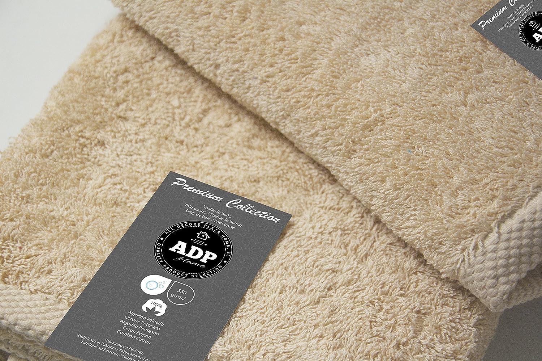 ADP Home - Toallas De Ducha/Baño Calidad De 100% Algodón Peinado 550Grms Pack De 2 Unidades - Color - Crema - Talla - 70 x 140 cm: Amazon.es: Hogar