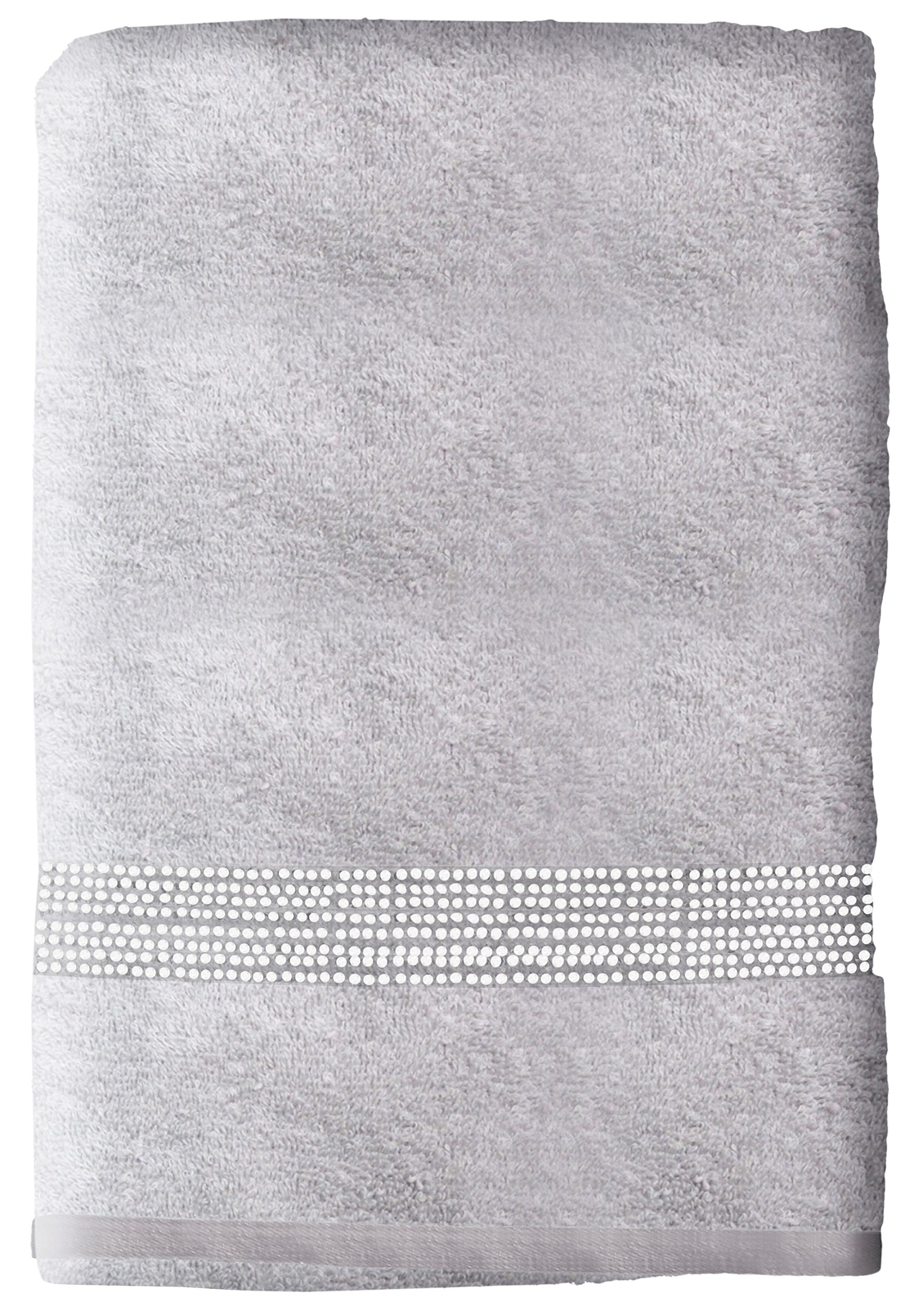 Sparkles Home S-3686-Gray Rhinestone Stripe Bath Towel, Gray