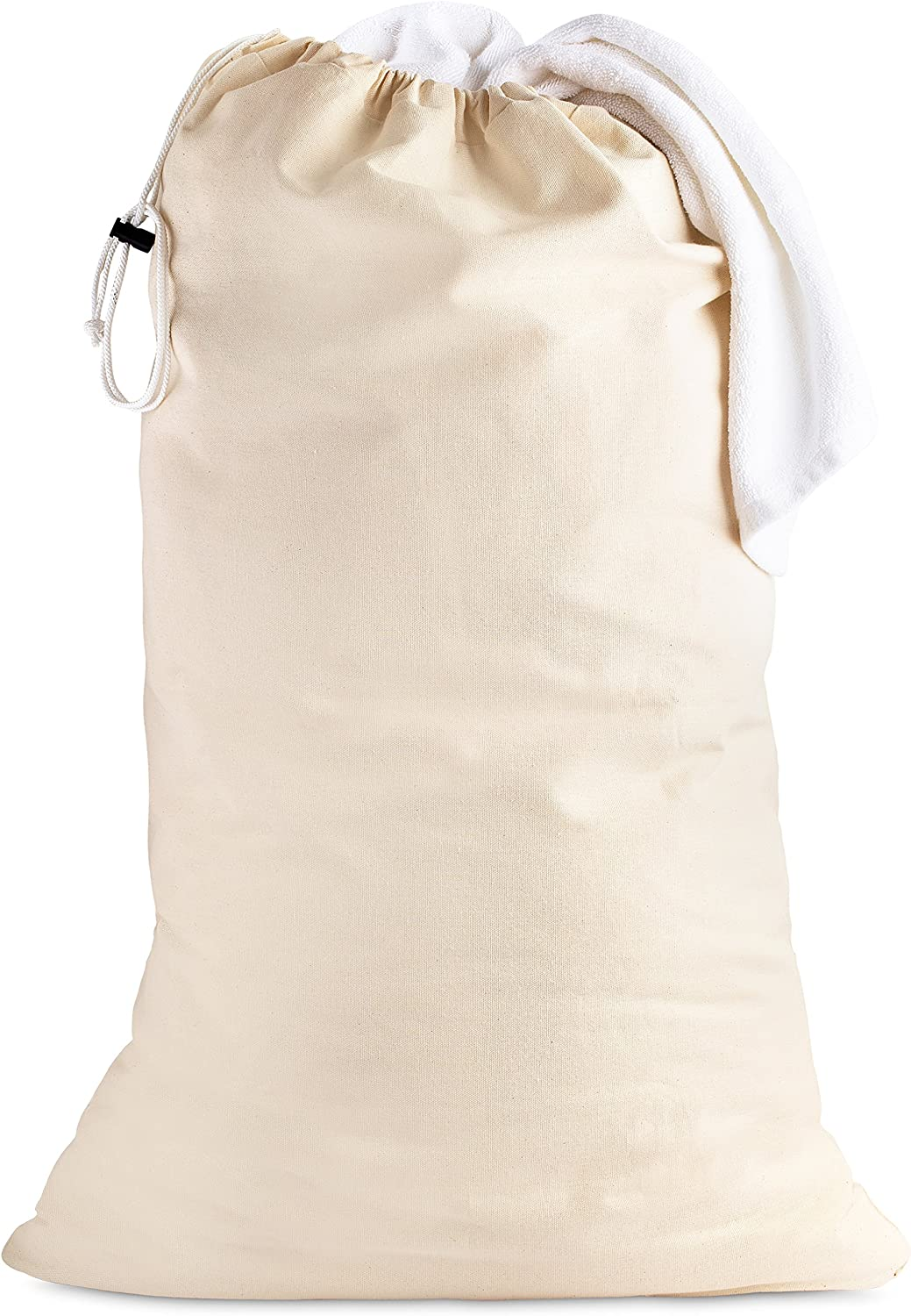"Cotton Laundry Bag - 24"" x 36"" - Sturdy, Breathable, 100% Cotton, Locking Drawstring Closure for Easy Carrying, Perfect Laundry Bag for College Students Living in dorms, and Sorting Laundry at Home."