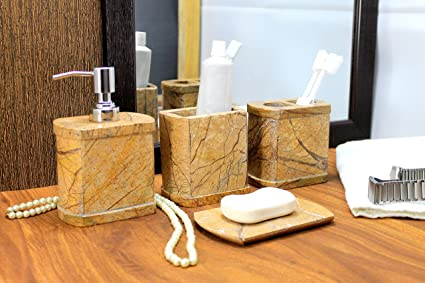 Ordinaire KLEO Bathroom Accessory Set Made From Natural Brown Stone   Bath Accessories  Set Of 4 Includes