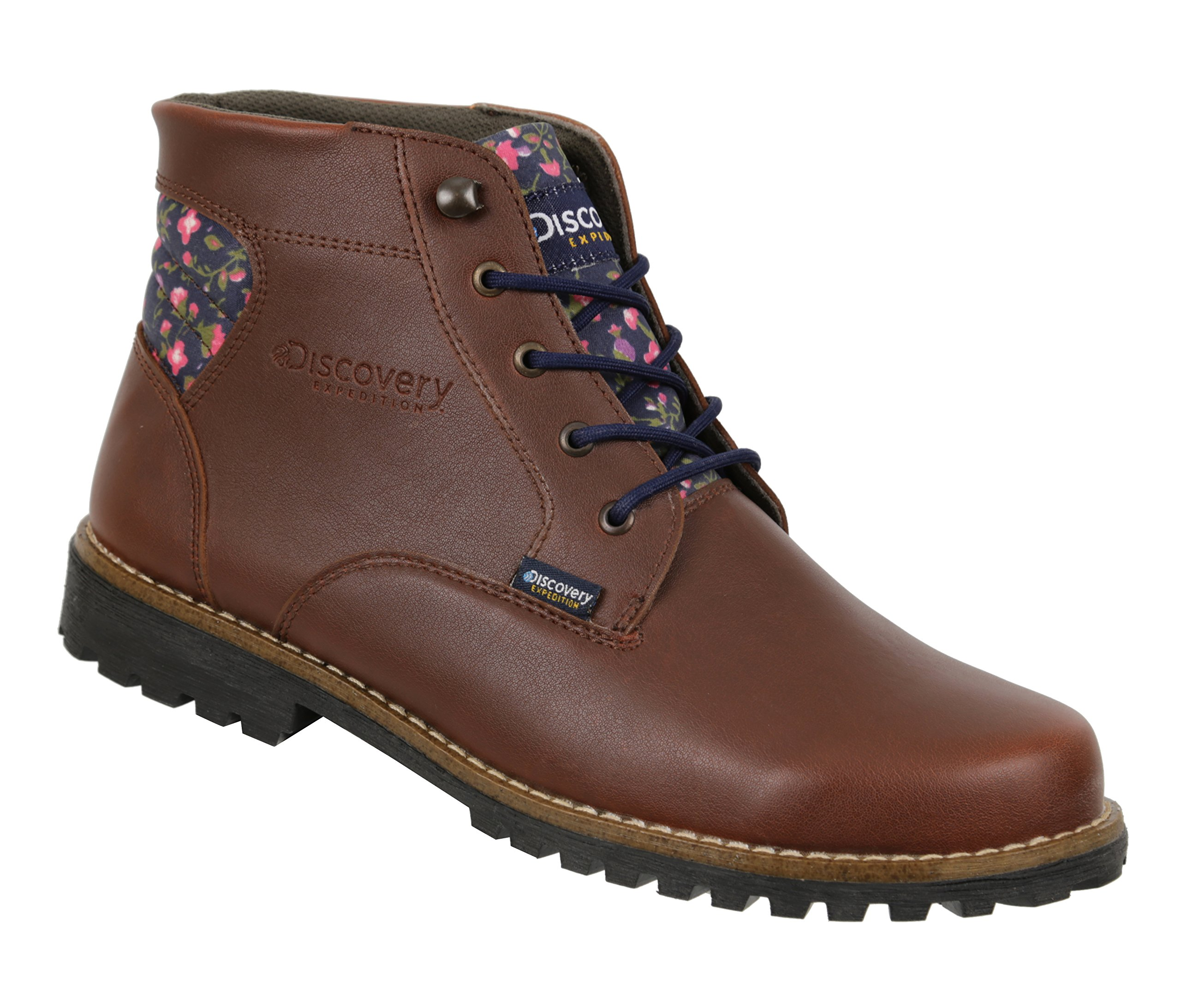 Discovery Expedition Womens Leather Floral Print Outdoor Backpacking Trek Hiking Boots Gold Brown 9