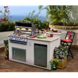 Cal Flame e6016 Outdoor Kitchen 4-Burner Barbecue Grill Island With Refrigerator
