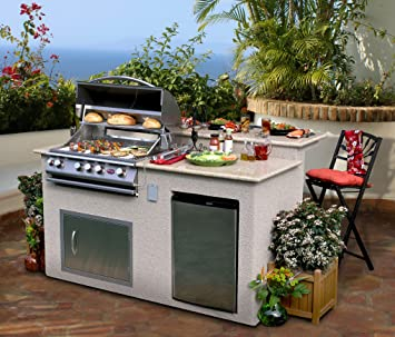Cal Flame E6016 Outdoor Kitchen 4burner Barbecue Grill Island With
