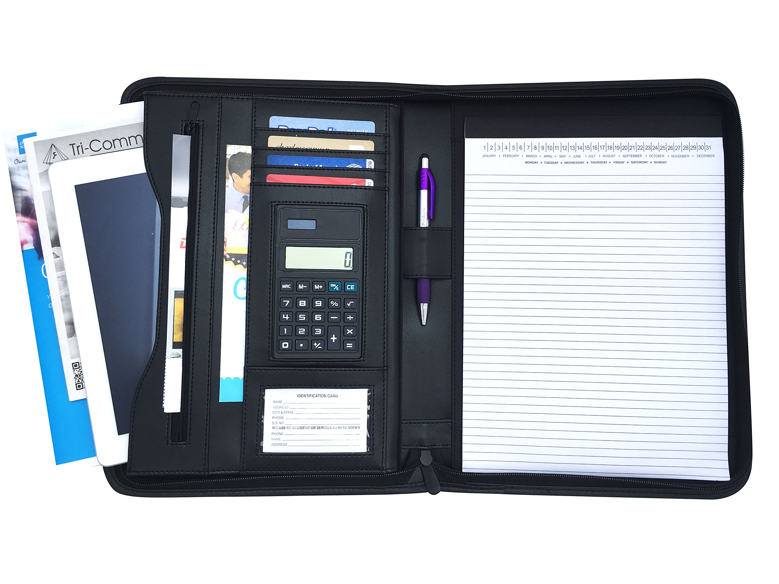 Executive Padfolio with Built in 8.5 by 11 Notepad and Calculator: Holds Business Cards, Interview Resume,Checks with Notepad (Original Black)