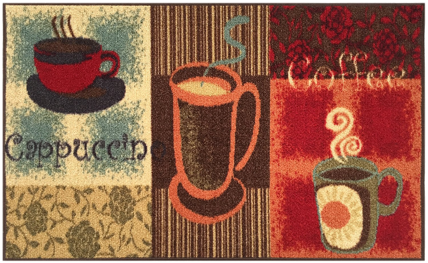 Amazon.com: Kitchen Collection Coffee Lover Cappuccino Multi-Color Printed Slip Resistant Rubber Back Latex Contemporary Modern Runner Area Rug (9081) (18