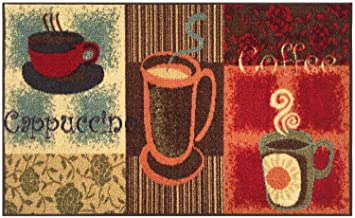 Kitchen Collection Coffee Lover Cappuccino Multi-Color Printed Slip Resistant Rubber Back Latex Contemporary Modern