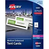 Avery Laser & Ink Jet 2 1/2 x 8 1/2 Inch White Tent Cards 100 Count (5305)