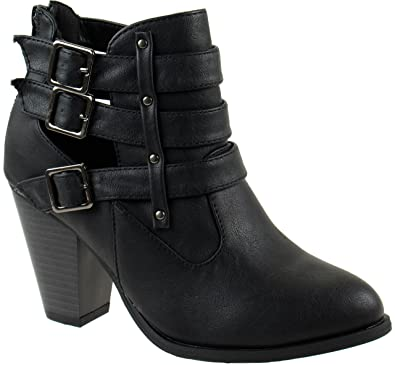 3b1b57452d0 Forever Shoes Women's Camila-62 Short Ankle Riding Boots Chunky Heel Three  Buckled Strap
