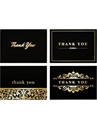 Cards card stock shop amazon 100 stunning gold foil thank you cards bulk perfect for wedding graduation reheart Gallery
