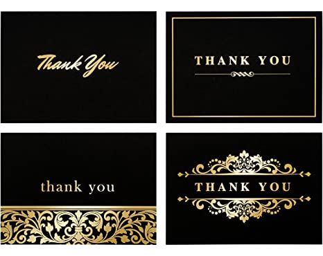 Amazon 100 thank you cards bulk thank you notes gold and 100 thank you cards bulk thank you notes gold and black blank note reheart Images