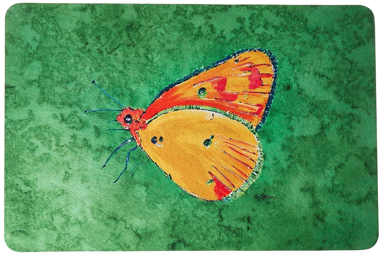 Caroline's Treasures 8861JCMT'Butterfly Orange on Green' Kitchen or Bath Mat, 24' by 36', Multicolor